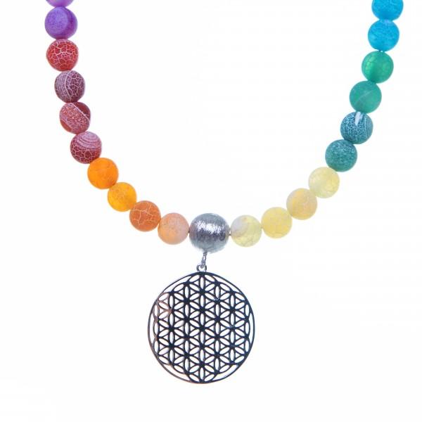 Chakra-Edelsteinkette mit Blume des Lebens Anhänger