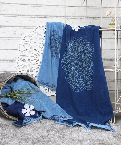 """Handtuch """"Blume des Lebens"""", aus Biobaumwolle mit Edelsteinen, verschiedene Farben"""