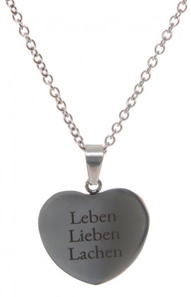 "Herz-Kettenanhänger inkl. Kette ""Leben, Lieben, Lachen"""