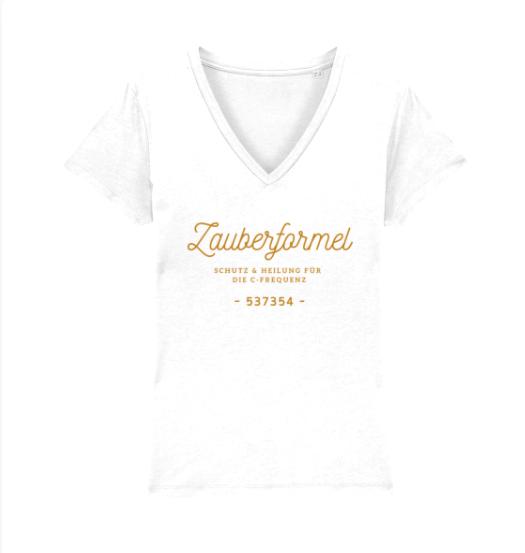"""T-Shirt mit V-Ausschnitt """"Zauberformel C-Frequenz"""", verschiedene Designs"""